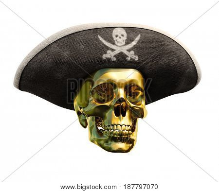 3d render: Isolated Pirate Gold Skull and Black Cocked Pirate Triangle Hat with Skull and Crossed Bones on Blank Background