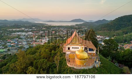 Aerial view of Wat Koh Sirey temple in Phuket, Thailand