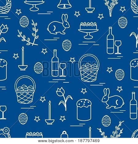 Cute Seamless Pattern With Different Symbols For Easter.
