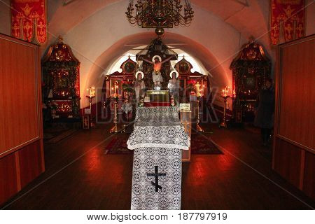 Kozelets town, Chernihiv region / Ukraine - 25 February 2015: Inside beautiful Spaso-Preobrazhenska church in Kozelets town. 25 February 2015 in Kozelets town / Ukraine.