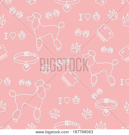 Seamless Pattern With Poodle Silhouette, Comb, Collar, Dog Tracks And Hearts.