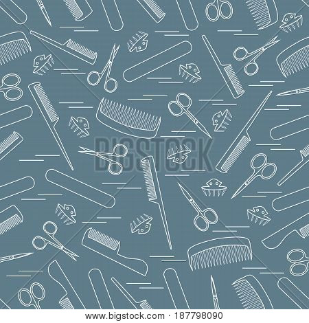 Cute Pattern Of Scissors For Manicure And Pedicure, Combs, Nail File, Barrettes.
