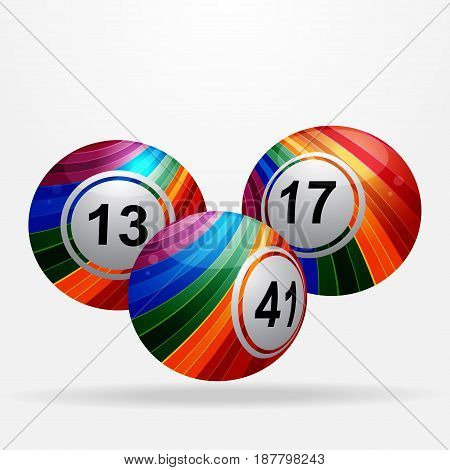 Three Striped Bingo Lottery Balls with Shadow Over White Background