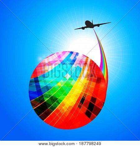 Multicoloured Striped Abstract Globe with Rainbow and Airplane Silhouette Over Blue Sunny Sky