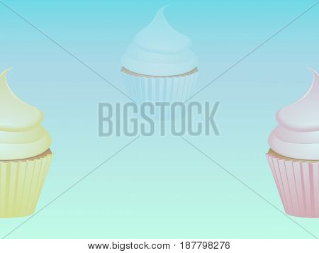 Light Blue Background with Yellow Pink and Blue Shaded Cupcakes