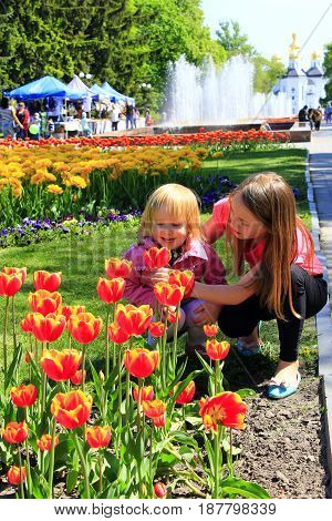 The older sister teaches the younger to smell tulips on a city flowerbed. Children smell tulip on a city flowerbed
