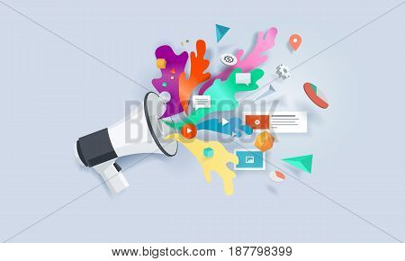 Creative concept banner. Vector illustration for internet marketing, social media, SEO, advertising, e-commerce, apps.