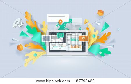 Creative concept banner. Vector illustration for digital marketing, social media, apps, online advertising.