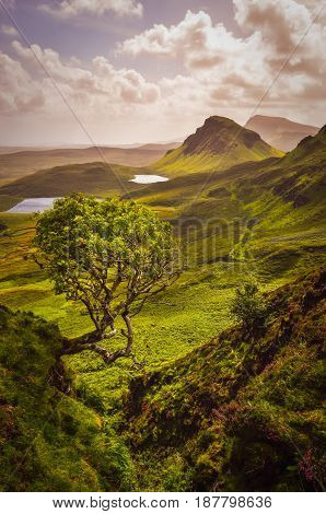 Scenic view of Quiraing mountains in Isle of Skye Scottish highlands United Kingdom