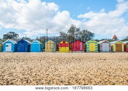 Brighton beach an iconic landmark place of Melbourne, Victoria state of Australia.