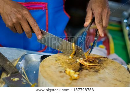 Cutting Fresh Grilled Squid