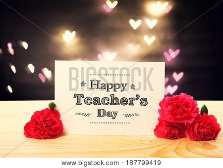 Teachers Day Message Card With Carnation Flowers