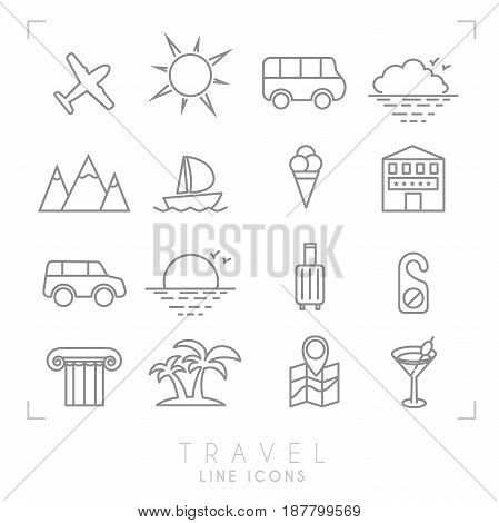 Outline travel line icons set. Airplane sun bus cloud horizon mountains yacht hotel rent car luggage do not disturb message ionic column palms map with points cocktail and ice cream.