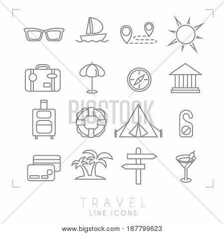 Outline thin travel and vacation icons set. Sunglasses yacht route sun suitcase umbrella compass museum luggage lifebuoy camping tent message money card palms arrows cocktail.