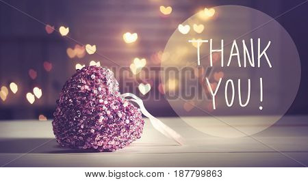 Thank You Message With A Pink Heart
