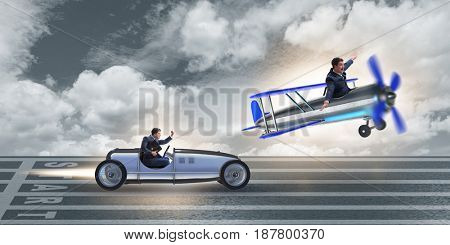 Businessman racing on car and airplane