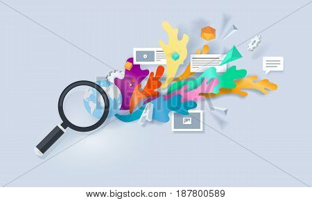 Creative concept banner. Vector illustration for searching solution, browsing,