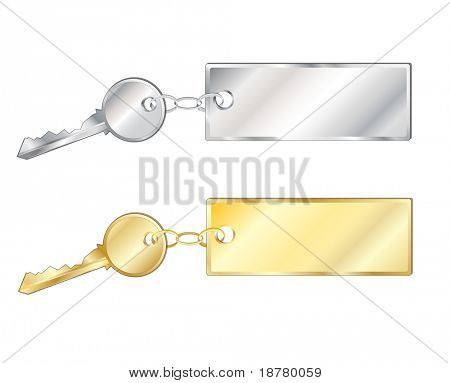 Keys with fobs in silver and gold. Isolated on white with space for text