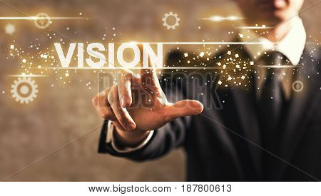 Vision Text With Businessman