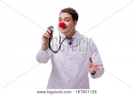 Funny clown doctor isolated on the white background