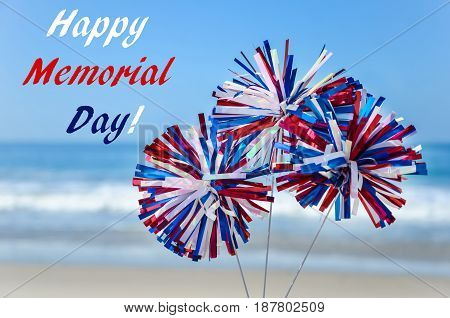Memorial day background with decoration on the sandy beach