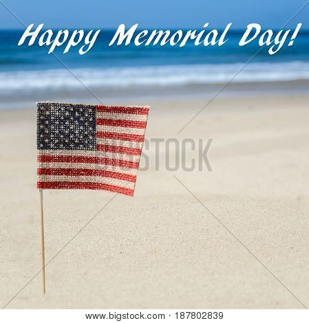 Memorial day background and American flag on the sandy beach square format