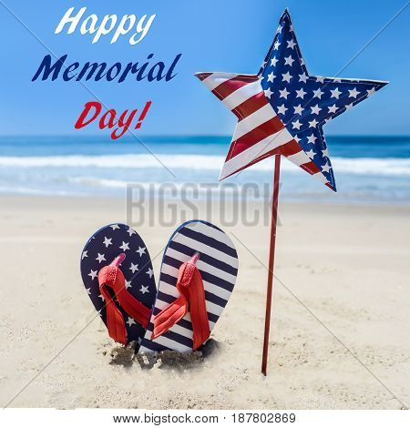 Memorial day background with flip flops on the sandy beach square format