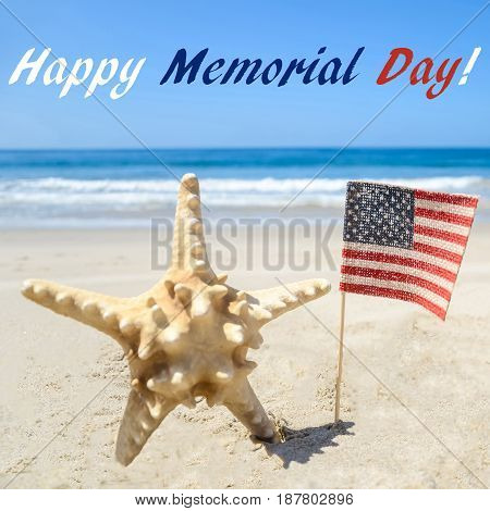 Memorial day background with starfish and American flag on the sandy beach square format