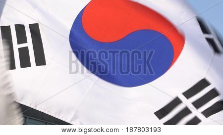 South Korean flag flapping during the day