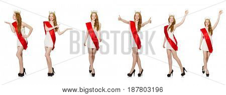 Beauty contest winner isolated on the white