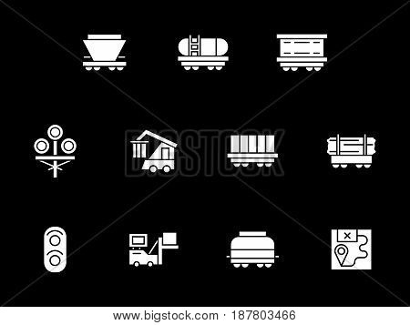 Collection of railroad transportation elements. Rail car types, traffic lights, logistic. Symbolic white glyph style vector icons set on black.