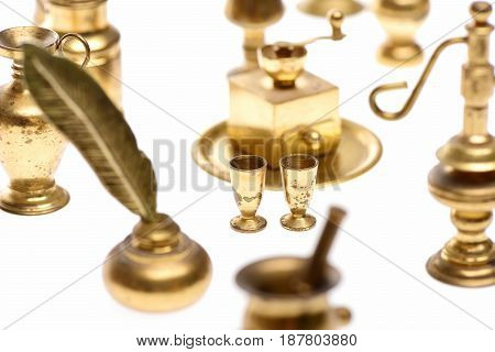 Goblets With Golden Kitchenware Isolated On White