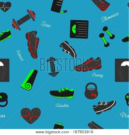 Seamless pattern on the blue background with sport and fitness elements