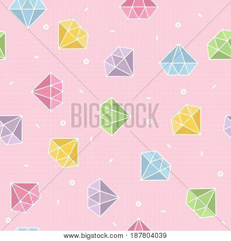 Pastel diamond seamless pattern with pink background