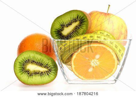 Fruit In Transparent Bowl: Apple, Orange And Kiwi Fruit Halves