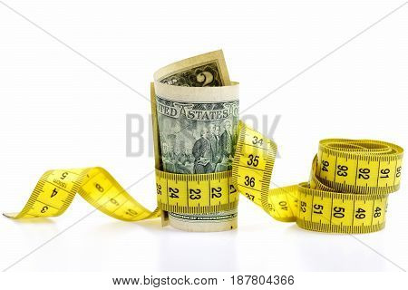 Measure Tape And Dollar Banknote Isolated On White