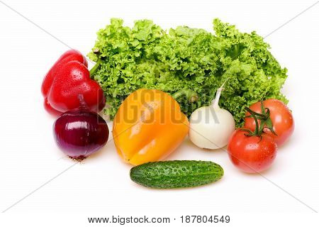 Onion, Peppers, Leafy Vegetables, Lettuce Leaf With Tomatoes And Cucumber