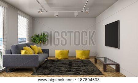 Modern Interior Living Room. 3D Illustration And Render