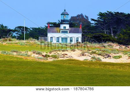 Historic Point Pinos Light Station which became operational in 1855 and helped guided vessels into the Monterey Bay taken in Pacific Gove, CA