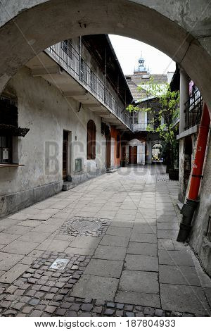Historic alleyway in the old Jewish district of Kazimierz in Cracow