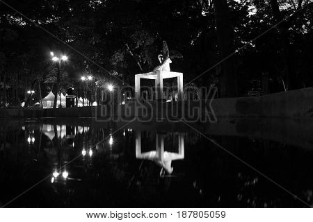 Black and white night sculpture of sculpture reflected in water