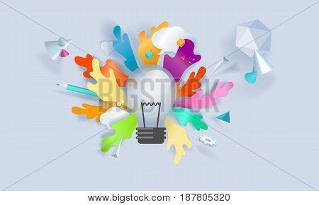 Creative concept banner. Vector illustration for innovation, idea, brainstorming, creative process, product development.