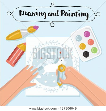 Painting and drawing kids banners. Creative process. Vector illustration of table top, children hands, pencil, paper with hand drawn picture, brush, paints