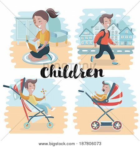 Vector illustration of set of happy children in different situations. Girls and boys reading, walking on streets, sitting in stroller