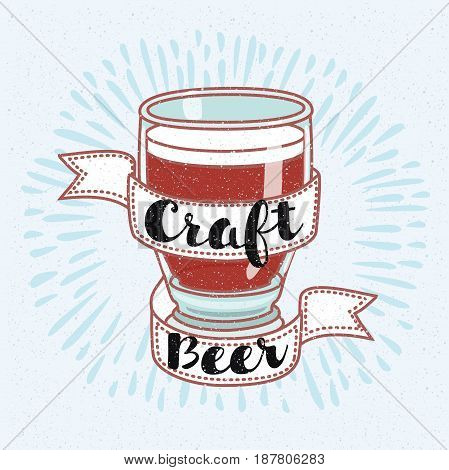 Vector illustration of Vintage Style Craft Beer Sign and hand drawn lettering of words Craft Beer.