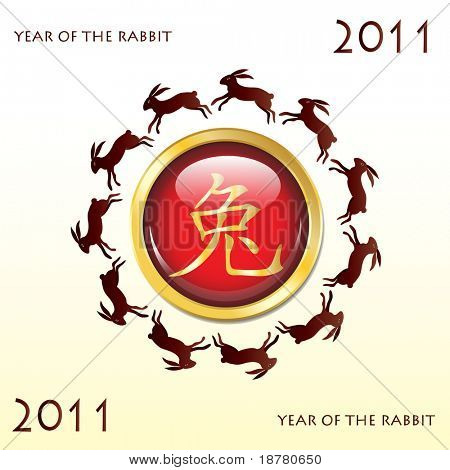 Glossy web button 2011 Year of the Rabbit. Chinese symbol with leaping rabbits. EPS10 vector format.