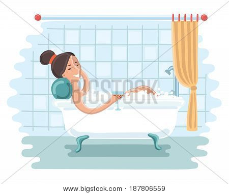 Vector cartoon fun illustration of woman relaxing in bath in bathroom