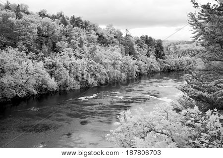 Flowing Water Of The St. Croix River In Infrared Black And White