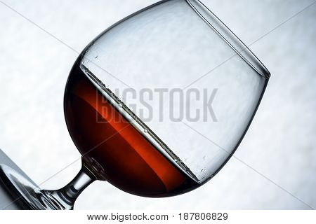 Glass Of Brandy And Chocolate Piecesa Lone Glass Of Brandy, Half Empty, Half Full. Abstraction, The