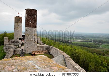 View from tower to Checiny castle and panoramic view of the area